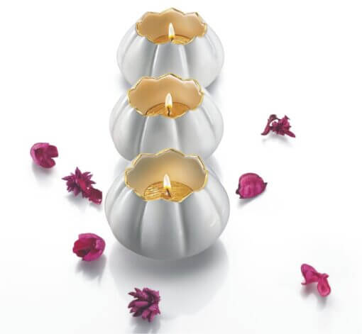 Open lotus tea light holder